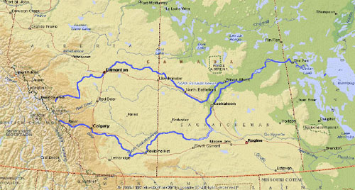 North Saskatchewan River Map